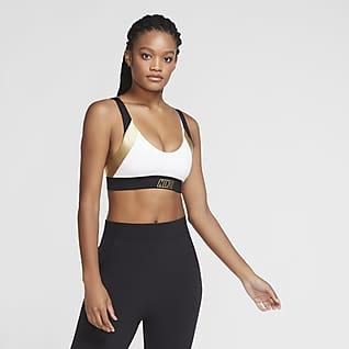 Nike Indy Спортивное бра с вкладышем, легкой поддержкой и эффектом металлик