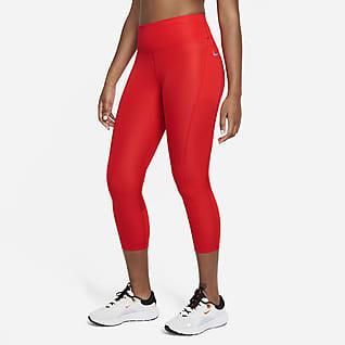 Nike Fast 3/4-Lauf-Leggings mit halbhohem Bund für Damen