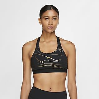 Nike Swoosh Icon Clash Sports-BH med middels støtte med trykk til dame