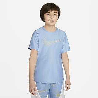 Nike Tréninkové tričko skrátkým rukávem agrafickým motivem pro větší děti (chlapce)
