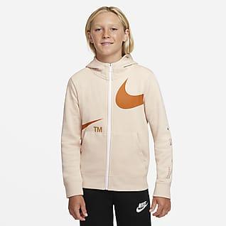 Nike Sportswear Swoosh Flísová mikina s kapucí a zipem po celé délce pro větší děti (chlapce)