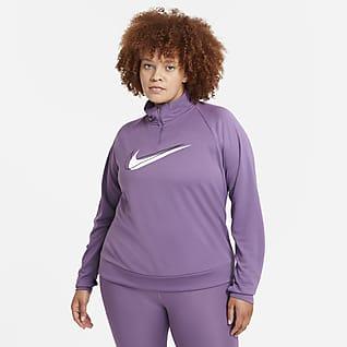 Nike Dri-FIT Swoosh Run Träningströja med halv dragkedja för kvinnor (Plus Size)