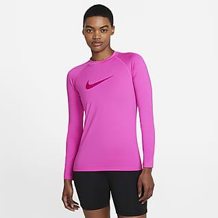 Nike Solid Logo Camiseta Hydroguard de natación de manga larga para mujer