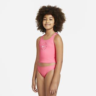 Nike Conjunto de midkini con espalda cruzada para niña talla grande