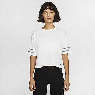 Nike Pro Top a manica corta con grafica - Donna