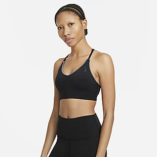Nike Yoga Dri-FIT Indy Sutiã de desporto almofadado de suporte ligeiro com extremidades em croché para mulher