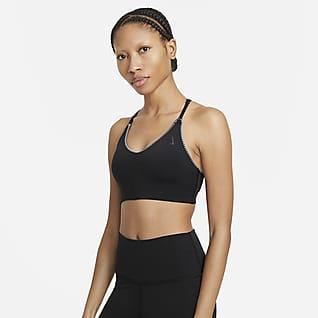 Nike Yoga Dri-FIT Indy Enyhe tartást adó, párnázott, horgolt szélű női sportmelltartó