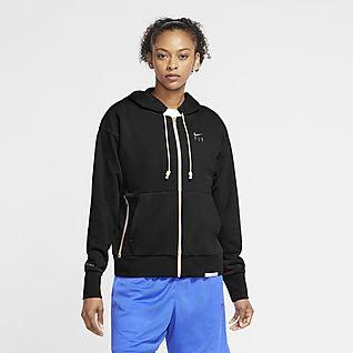 Nike Swoosh Fly Standard Issue Tam Boy Fermuarlı Kadın Basketbol Kapüşonlu Üstü