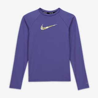 Nike Swoosh Camiseta de natación Hydroguard de manga larga para niña talla grande