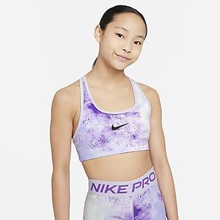 Nike Swoosh สปอร์ตบราเด็กโตใส่ได้ 2 ด้านพิมพ์ลายมัดย้อม (หญิง)