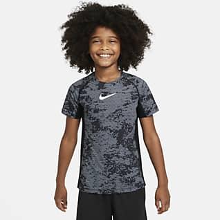 Nike Pro Koszulka treningowa z nadrukiem dla dużych dzieci (chłopców)