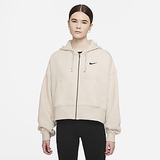 Nike Sportswear Essential Felpa in fleece con cappuccio e zip a tutta lunghezza - Donna