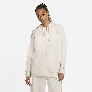 Nike Sportswear Γυναικεία μπλούζα με κουκούλα και φερμουάρ σε όλο το μήκος από ύφασμα