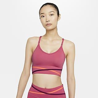 Nike Dri-FIT Indy Gepolsterter Longline-Sport-BH mit leichtem Halt für Damen