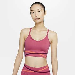 Nike Dri-FIT Indy Damski stanik sportowy z wkładkami o wydłużonym kroju zapewniający lekkie wsparcie
