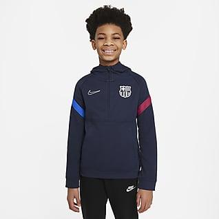 FC Barcelona Nike Dri-FIT Fußball-Hoodie mit Halbreißverschluss für ältere Kinder