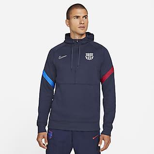 FC Barcelona Nike Dri-FIT Fußball-Hoodie mit Halbreißverschluss für Herren