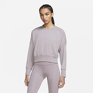 Nike Haut court de training à lacets en tissu Fleece pour Femme