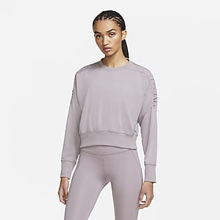 Nike Sudadera corta de entrenamiento de cuello redondo y tejido Fleece para mujer