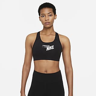 Nike Swoosh Sport-bh met logo, medium ondersteuning en pad uit één stuk