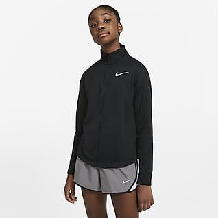 Nike Беговая футболка с длинным рукавом и молнией на половину длины для девочек школьного возраста