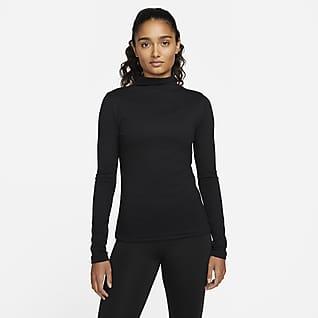 Nike Yoga Luxe Dri-FIT Geribde damestop met lange mouwen