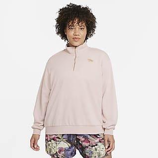 Nike Sportswear Femme Parte de arriba de tejido Fleece con cremallera de 1/4 (Talla grande) - Mujer