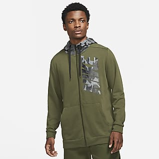 Nike Dri-FIT Ανδρική μπλούζα προπόνησης με κουκούλα, φερμουάρ και μοτίβο παραλλαγής