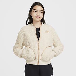 Nike Sportswear Chamarra de cierre completo para niña talla grande de tejido Sherpa