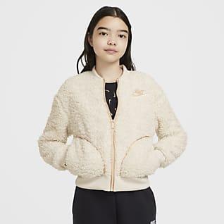 Nike Sportswear Big Kids' (Girls') Full-Zip Sherpa Jacket
