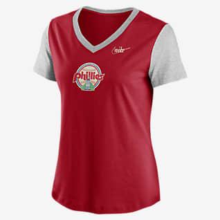Nike Cooperstown Logo Tri-Blend (MLB Philadelphia Phillies) Women's Mid V-Neck T-Shirt