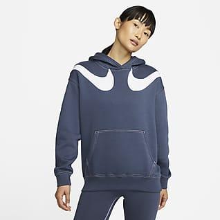 Nike Sportswear Swoosh 女款寬版 Fleece 連帽上衣