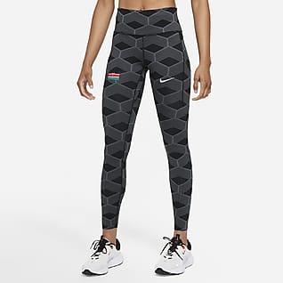 Nike Team Kenya Epic Luxe Lauf-Leggings mit halbhohem Bund für Damen