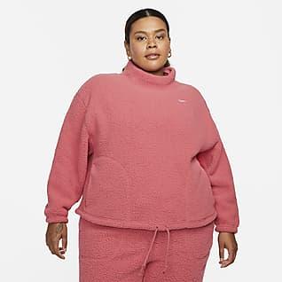 Nike Therma-FIT Γυναικείο φλις φούτερ προπόνησης (μεγάλα μεγέθη)