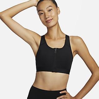 Nike Dri-FIT Swoosh สปอร์ตบราซัพพอร์ตระดับกลางเสริมฟองน้ำซิปหน้าผู้หญิง
