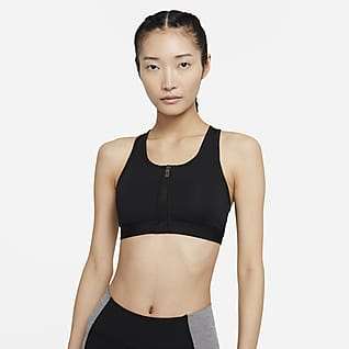 Nike Dri-FIT Swoosh Zip-Front 女子中强度支撑衬垫运动内衣
