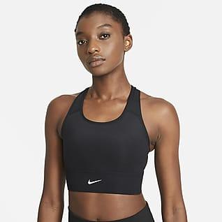 Nike Dri-FIT Swoosh Sujetador deportivo de línea larga con almohadilla de una sola pieza de media sujeción para mujer