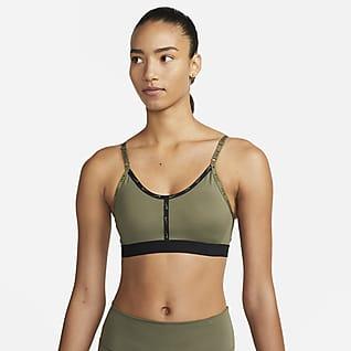 Nike Dri-FIT Indy Damen-Sport-BH mit leichtem Halt, Besatz und Logo