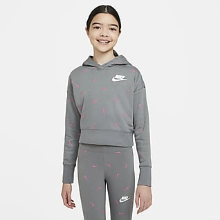 Nike Sportswear Avkortet hettegenser i frotté til store barn (jente)