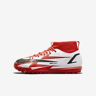 Nike Jr. Mercurial Superfly 8 Academy CR7 TF รองเท้าฟุตบอลเด็กเล็ก/โตสำหรับพื้นสนามหญ้าเทียม