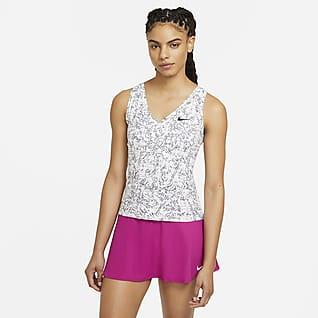 NikeCourt Victory Camiseta de tirantes de tenis con estampado para mujer