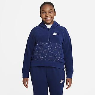Nike Sportswear Club Fleece Sudadera con gorro de medio cierre acondicionada para el invierno para niña talla grande
