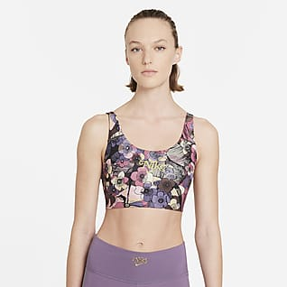 Nike Dri-FIT Swoosh Blomstermønstret sports-BH med innlegg i én del og middels støtte til dame