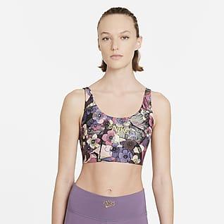 Nike Dri-FIT Swoosh Sujetador deportivo floral con almohadilla de una sola pieza de sujeción media para mujer