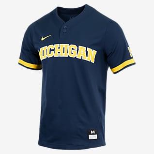 Nike College (Michigan) Camiseta de béisbol con 2 botones para hombre