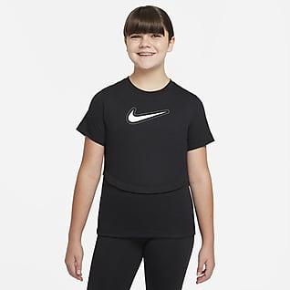 Nike Dri-FIT Trophy Kısa Kollu Genç Çocuk (Kız) Antrenman Üstü (Geniş Beden)
