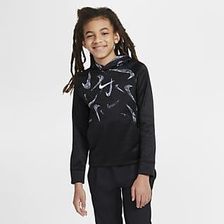 Nike Therma Sudadera con capucha sin cierre de entrenamiento estampada para niños talla grande