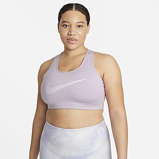Nike Swoosh Icon Clash Dámská sportovní podprsenka sgrafickým motivem a střední oporou bez vycpávek (větší velikost)
