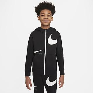 Nike Sportswear Swoosh Sudadera con gorro de cierre completo de tejido Fleece para niño talla grande