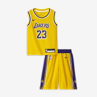 Los Angeles Lakers Replica Gaveæske med Nike NBA-trøje og shorts til mindre børn (drenge)